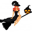 Halloween Poster with witch on sweeper — Stock Vector #51686567
