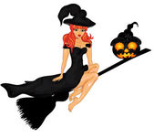 Halloween Poster with witch on sweeper — Stock Vector