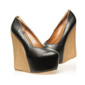 High Heels shoes in wedge design and with platform — 图库照片
