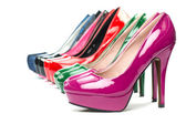 High heels pumps in different colors — Stock Photo
