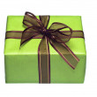 Green gift box with brown and gold ribbon — Stock Photo #15881397