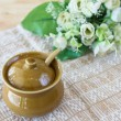 Ceramic clay small pot for cooking or general use — Stock Photo
