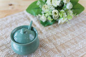 Ceramic clay small pot for cooking or general use — Стоковое фото