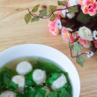 Thai style soup with meatballs and vegetables — Stock Photo #39812737