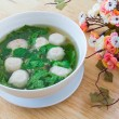 Thai style soup with meatballs and vegetables — Stock Photo #39812757