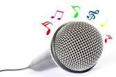 Mikrofon mit schwarzer Draht isoliert auf weiss — Stockfoto
