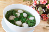 Thai style soup with meatballs and vegetables — Stock fotografie