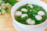 Thai style soup with meatballs and vegetables — ストック写真
