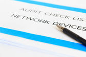 Concept of Audit Check list Network Devices — Stock Photo