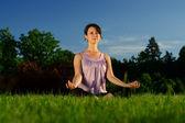 Yoga exercise (Sukhasana) — Foto de Stock