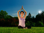 Yoga exercise (Sahasrara padmasana) — Stock Photo
