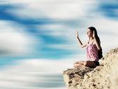 Yoga exercise (Padmasana) — Foto de Stock