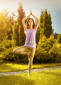 Yoga exercising (Vrikshasana) — Stock Photo