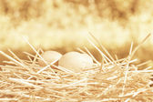 Eggs in the straw nest — Stock Photo