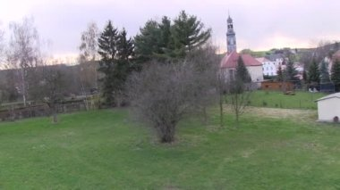 Flying with an octocopter near a church in Germany, Saxony.