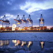 Container Terminal in Hamburg - Stock Photo