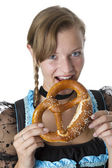 Bavarian girl in traditional clothes. — Stock Photo