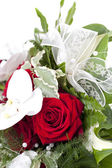 Bouquet with white ribbon — Stock Photo