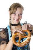 Bavarian girl in traditional clothes — Stock Photo