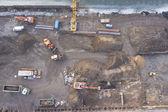 Excavators working at construction site — Stock Photo
