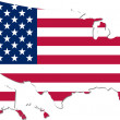 Map of the USA with national flag (raster illustration) — Stock Photo #19094765