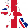 Map of the UK with national flag (raster illustration) — Stock Photo
