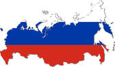 Map of Russia with national flag (raster illustration) — Fotografia Stock