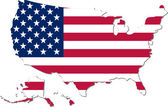 Map of the USA with national flag (raster illustration) — Stock Photo