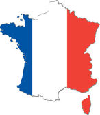 Map of France with national flag (raster illustration) — Stock Photo