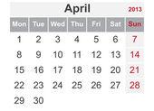 Simple calendar for April 2013 — Stock Vector