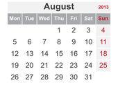 Simple calendar for August 2013 — Stock Vector