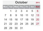 Einfacher kalender für oktober 2013 — Stockvektor