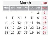 Simple calendar for March 2013 — Stock Vector