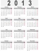 Semplice calendario per il 2013 — Vettoriale Stock