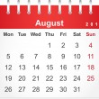 Simple red calendar for August 2013 — Stock Vector