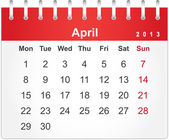 Simple red calendar for April 2013 — Stock Vector