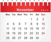 Semplice calendario rosso per novembre 2013 — Vettoriale Stock