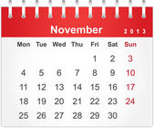 Simple red calendar for November 2013 — Stock Vector