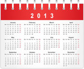 Calendar page for 2013 — Stock Vector