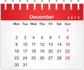 Simple red calendar for December 2013 — Stock Vector