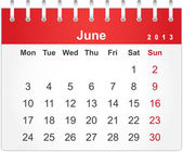 Simple red calendar for June 2013 — Stock Vector