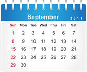 Stylish calendar page for September 2013 — Stock Vector