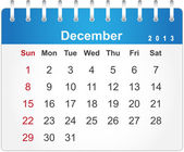 Stylish calendar page for December 2013 — Stock Vector