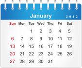 2013 年 1 月のためのスタイリッシュなカレンダー ページ — ストックベクタ