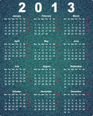 Stylish calendar for 2013 on denim background (raster illustration) — Zdjęcie stockowe