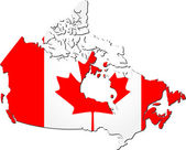Map of Canada with national flag — Stock Vector