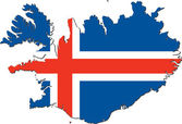 Map of Iceland with national flag — Stock Vector