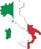 Map of Italy with national flag — Stock Vector