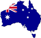 Map of Australia with national flag — Stock Vector