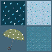 A set of colorful patterns with raindrops — Stock Vector
